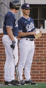 Dan Heefer talks to 2015 13th round MLB draft pick Daniel Salters (Cleveland Indians) (photo courtesy Dallas Baptist University)